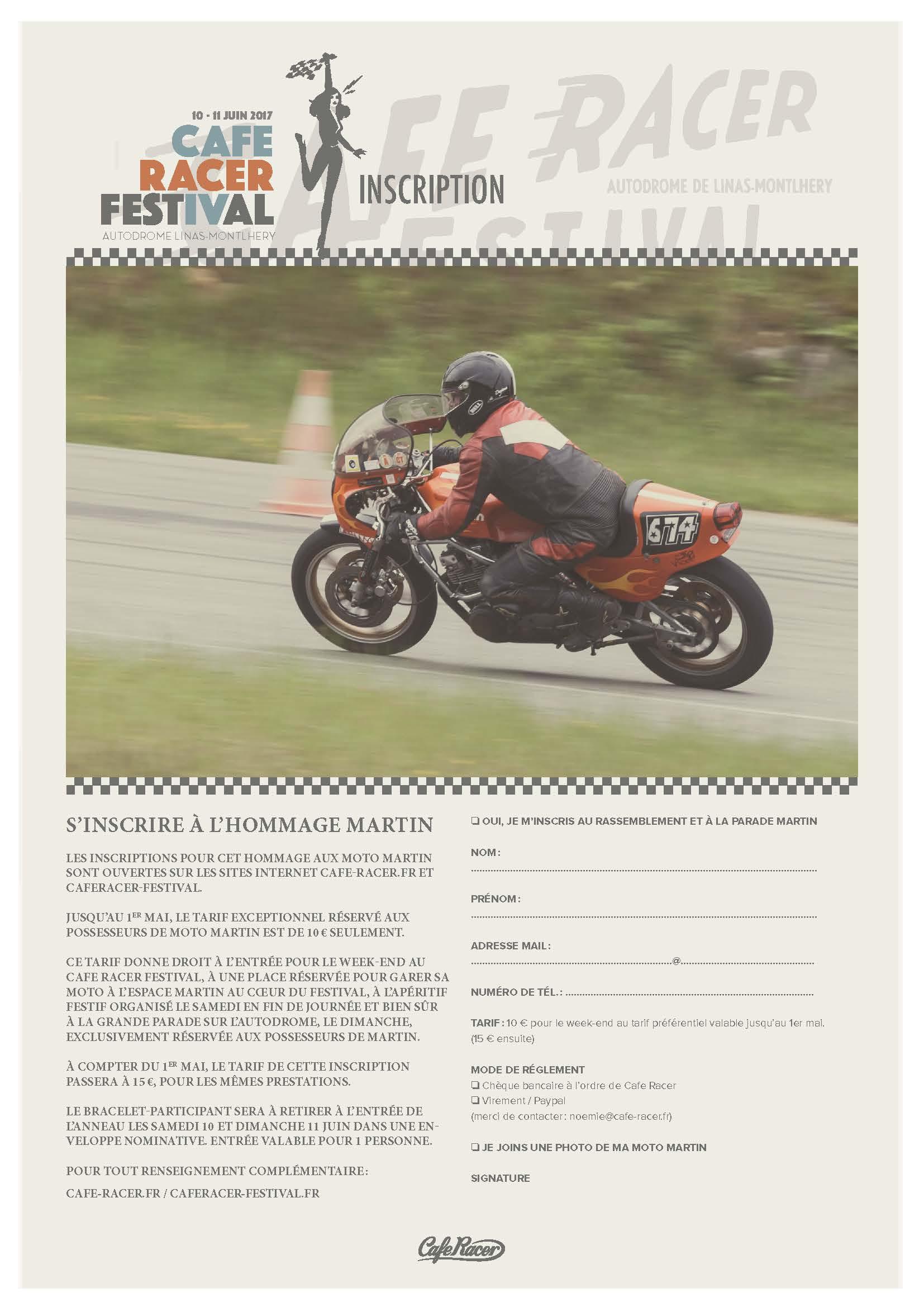 Cafe Racer Festival  Inscription Martin