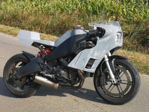 La Buel 1125R de Lys Motorcycles après installation de ses nouveaux carénages.